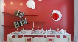 Дизайн за апартамент в червено и жълто