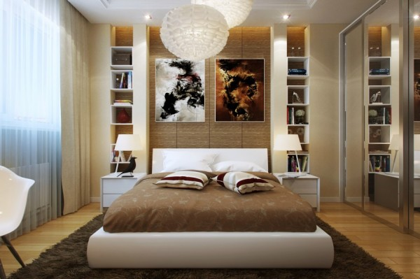 The bamboo-esque wall coverings in this bedroom give it a warm and cozy feeling while the subtle glow from the overhead fixtures and gauzy curtains is the perfect amount of welcoming light.