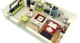 Вдъхновяващи етажни планове на едностайни апартаменти