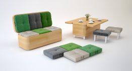 Диван, маса и няколко табуретки в една изискана мебел