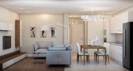 Дизайн на хол, кухня и трапезария в едно помещение