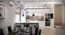 Отворена всекидневна с кухня и трапезария в модерен стил