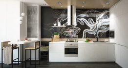 Арт проект за кухня и трапезария в черно и бяло