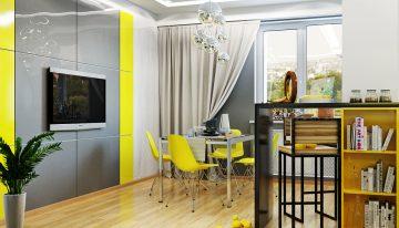 Модерен апартамент, показващ интериор с характер