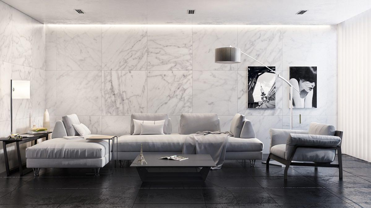 Тук забелязваме точно обратното. Използването на ярко бели мраморни плочи карат този монохромен хол да създава усещане за лукс и чистота.