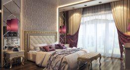 Интериор на спалня съчетаващ класическа и модерна визия