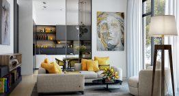 Идеи за съвременен дизайн на всекидневната с жълти акценти