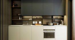 Модерен интериорен проект за малка кухня с трапезария [9 м²]