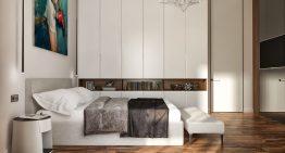 Проект за спалня в спокойни топли цветове и естествени материали