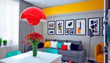 Проект за апартамент с цветен и динамичен интериор