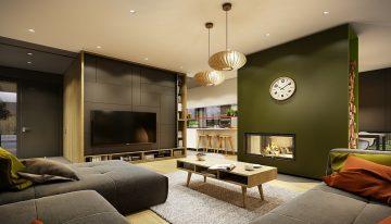 Модерен интериор с перфектно съчетани цветове и форми