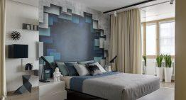 Съвременен дизайн на спалня със собствена баня