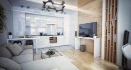 Проект за комбинирана кухня и всекидневна с модерна визия