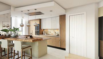 Модерен дизайн на просторна дневна с кухненски бокс
