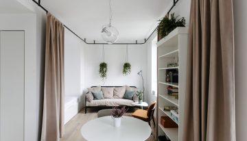 Семпъл и функционален интериор на студио с големина от 33 м²