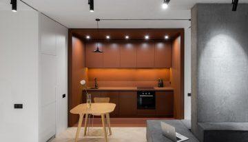 Модерен и практичен дизайн за апартаменти близнаци в Киев [47 м²]